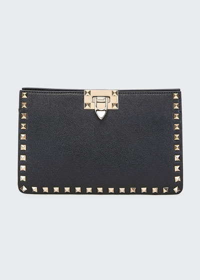 Rockstud Lux Buffalo Leather Clutch Bag