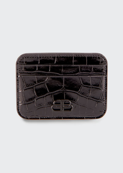 BB Shiny Crocodile-Embossed Card Case