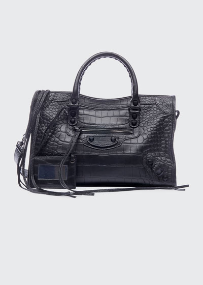 Classic City Small Matte Croc Satchel Bag
