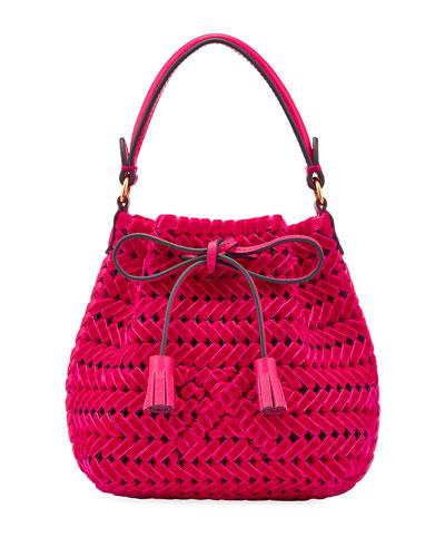 The Neeson Tiny Velvet Ribbon Drawstring Bucket Bag  Magenta
