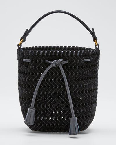 The Neeson Tiny Velvet Ribbon Drawstring Bucket Bag  Black