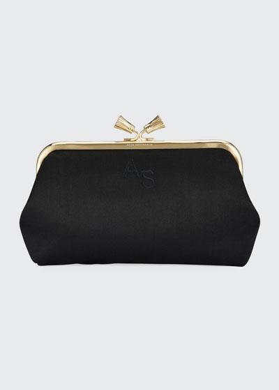 Maud Tassel Satin Clutch Bag  Black