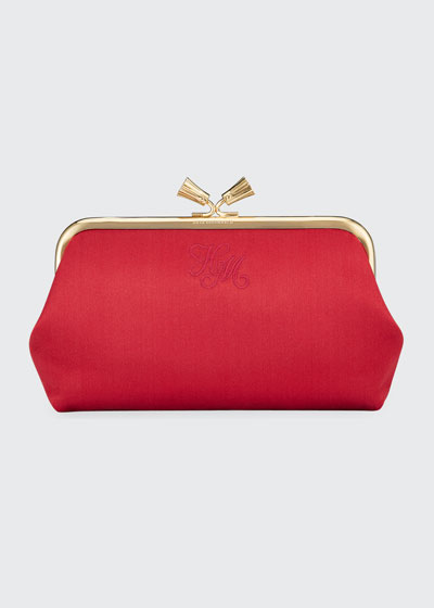 Maud Tassel Satin Clutch Bag  Dark Pink