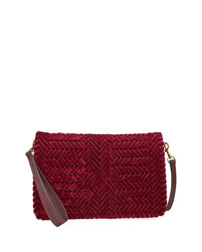The Neeson Velvet Ribbon Crossbody Bag  Red