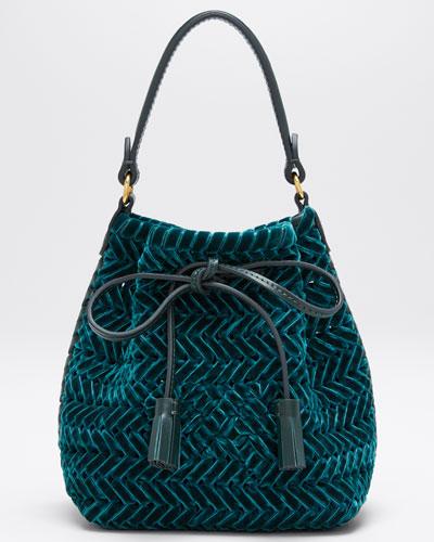The Neeson Tiny Velvet Ribbon Drawstring Bucket Bag  Green