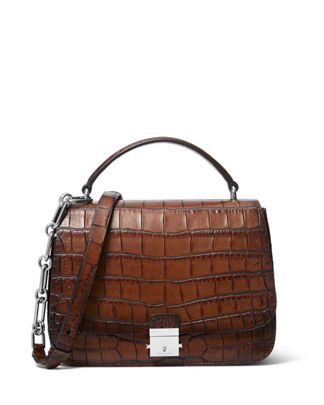 Burnished Stamped Crocodile Top Handle Bag