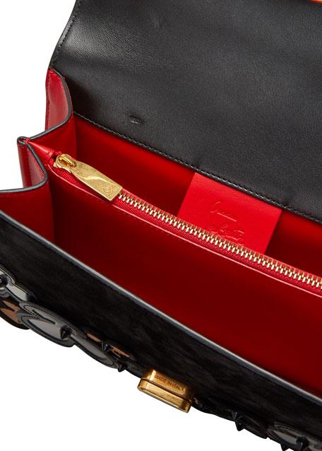 Elisa 3D Pansy Mixed Leather Shoulder Bag