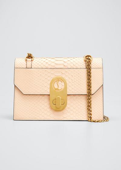 Elisa Python-Print Leather Shoulder Bag
