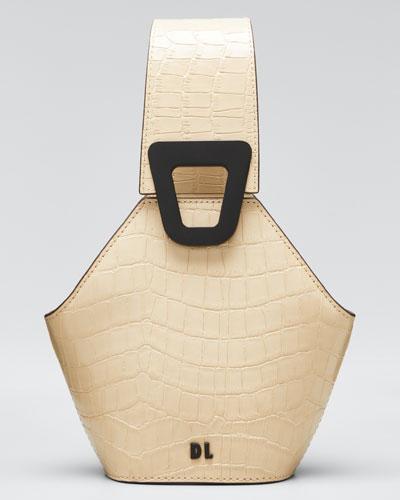 Johnny Mock-Croc Leather Hexagon Mini Shoulder Bag