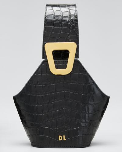 Johnny Mock-Croc Leather Hexagon Shoulder Bag