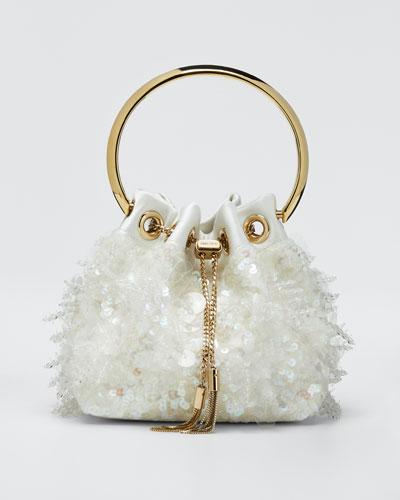 Sequin Satin Drops Top Handle Bag