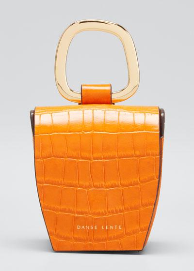 Mock-Croc Leather Box Bag