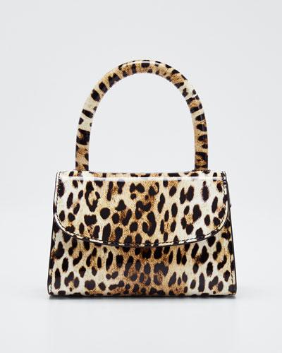 Mini Leopard-Print Leather Top-Handle Bag