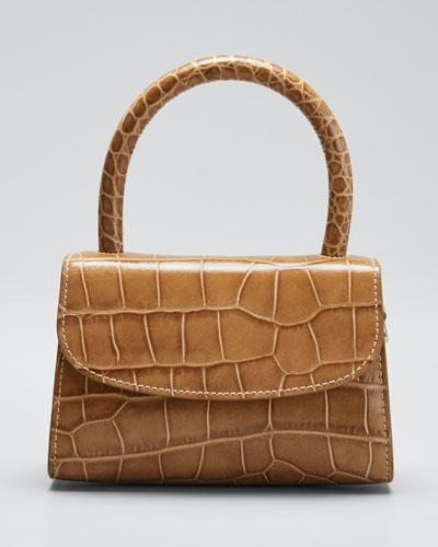 Mini Stamped Croco Top-Handle Bag
