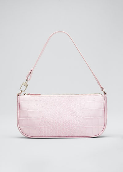 Rachel Croc-Embossed Shoulder Bag  Pink