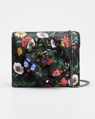 Mini Tro Floral-Print Leather Crossbody Bag with Rose