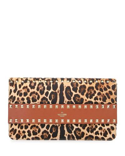 Rockstud Leopard Clutch Bag