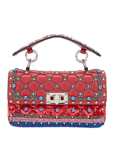 Spike It Small Embellished Shoulder Bag  Red