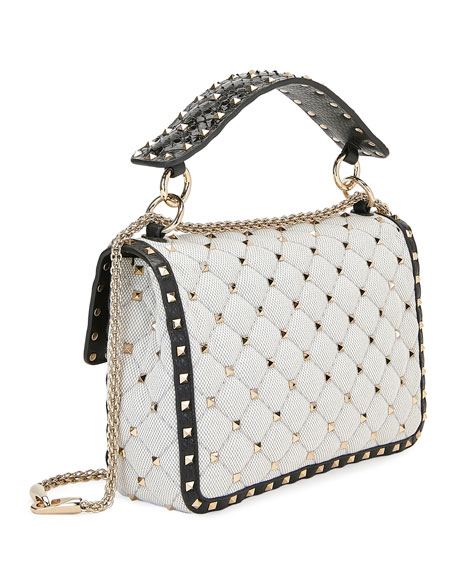 Spike It Two-Tone Canvas Medium Shoulder Bag
