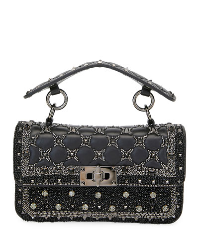 Spike It Small Embellished Shoulder Bag  Black