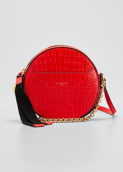 Eden Croc-Embossed Round Shoulder Bag