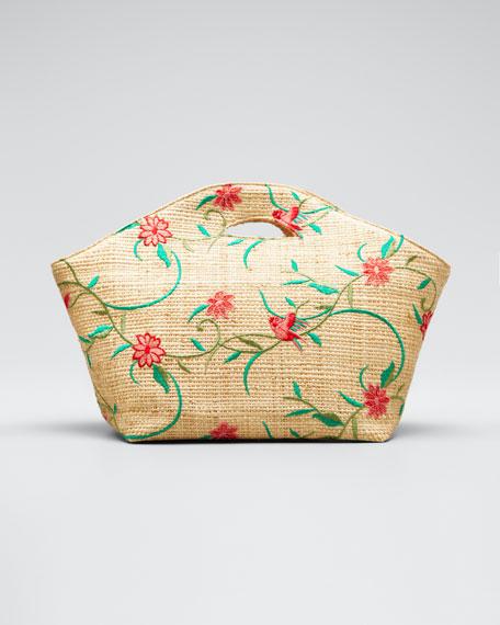 Agave Floral-Print Raffia Tote Bag