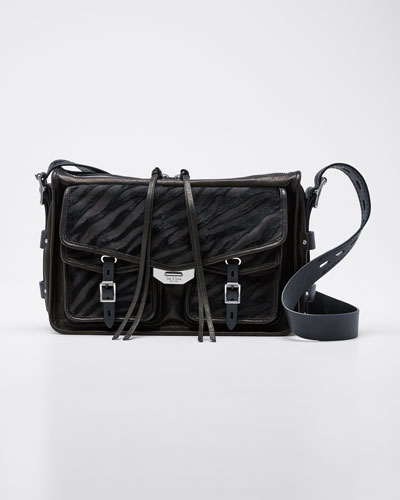 Calf Hair Field Messenger Crossbody Bag