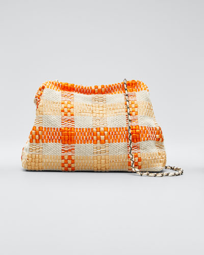 Vague Striped Woven Small Clutch Bag