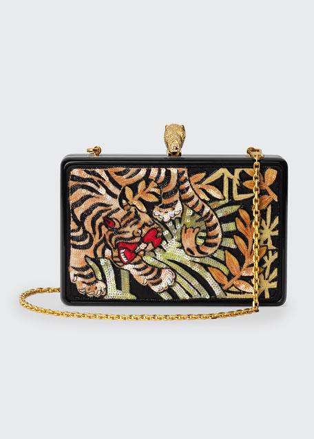 Broadway Sequin Tiger Box Clutch Bag