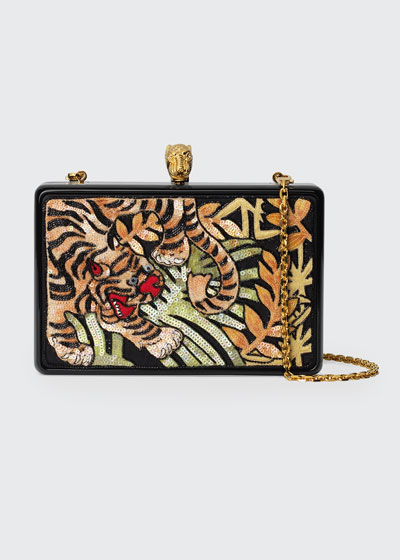 Broadway Sequin Tiger Box Clutch Bag