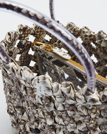 Small Woven Python Tote Bag