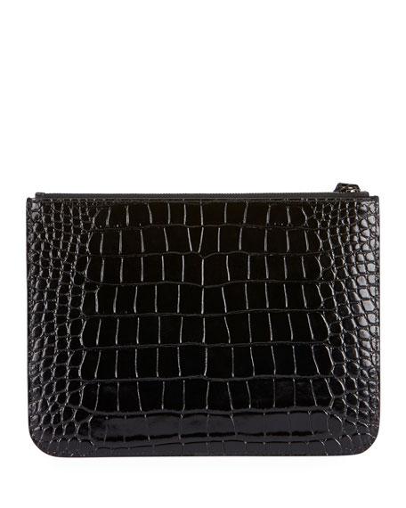 Wristlet Croc-Embossed Clutch Bag