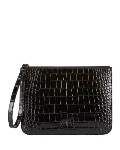 Wristlet Croc-Embossed Clutch Bag