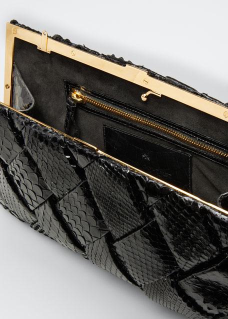 Large Woven Python Frame Clutch Bag