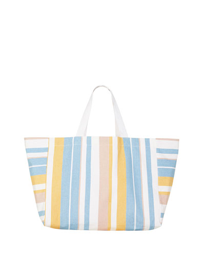 Striped Slouchy Beach Tote Bag