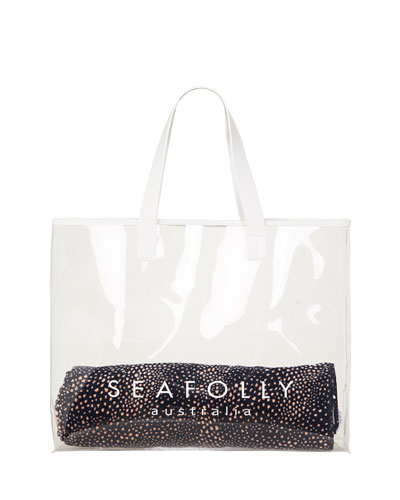 Transparent Logo Beach Tote Bag