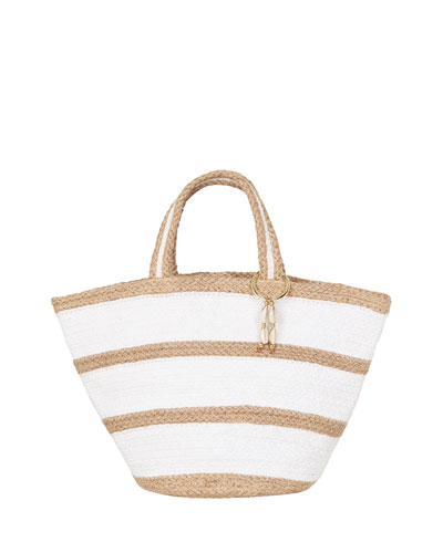 Striped Jute Beach Tote Bag
