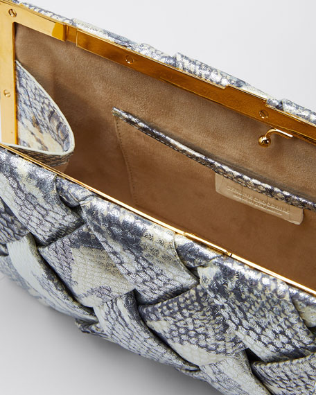 Woven Large Snakeskin Clutch Bag