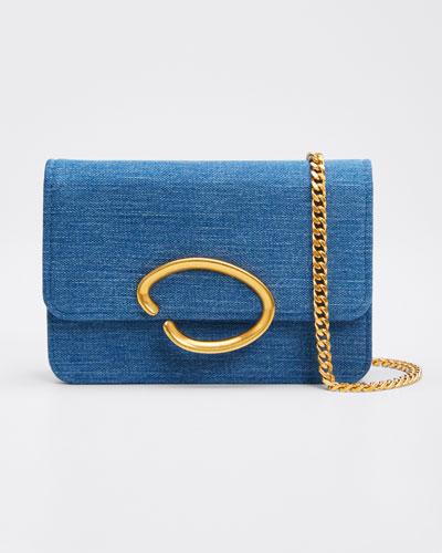O Chain Denim Wallet Crossbody Bag