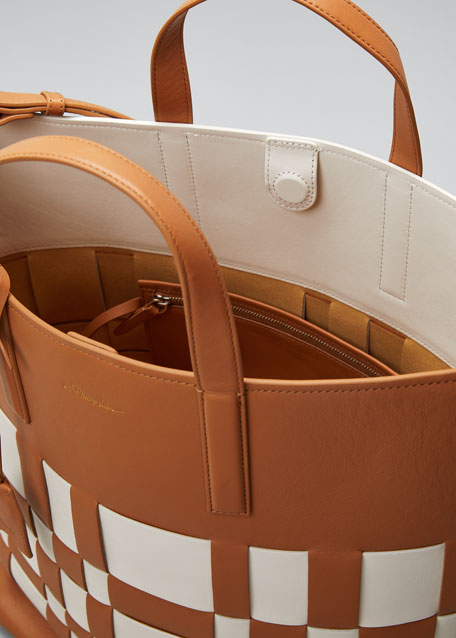 Odita Lattice Leather Shopper Tote Bag
