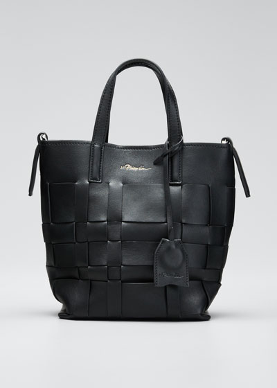 Lattice Woven Leather Bucket Tote Bag