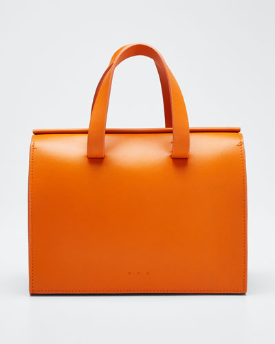 Leather New Mini Barrel Satchel Bag  Orange