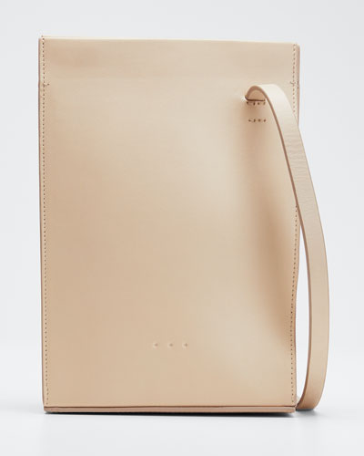 Twisted Leather Crossbody Bag  White