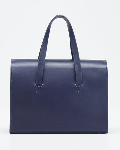 Leather New Mini Barrel Satchel Bag, Navy
