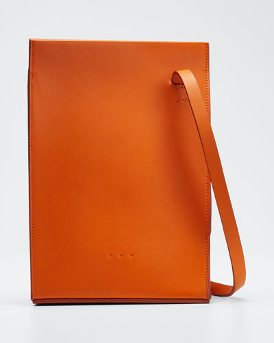 Twisted Leather Crossbody Bag  Orange
