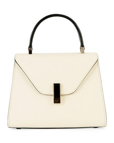 Iside Mini Two-Tone Saffiano Top-Handle Bag