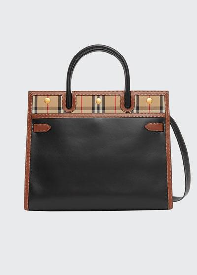 Small Title Check-Trim Tote Bag
