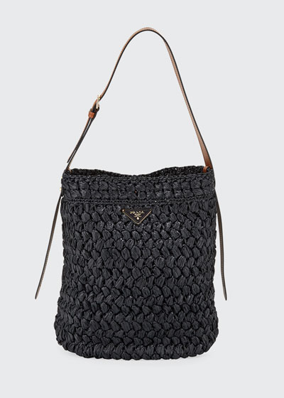 Large Raffia Bucket Bag