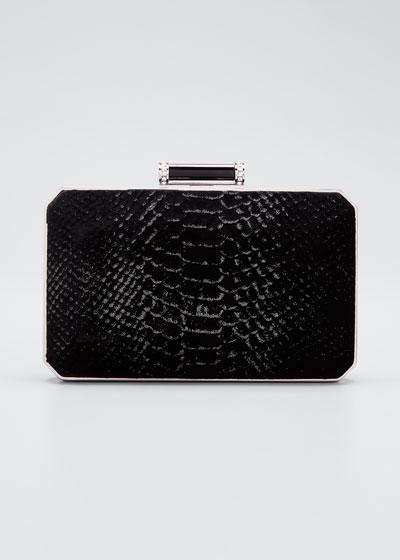 Soho Snake-Embossed Velvet Clutch Bag