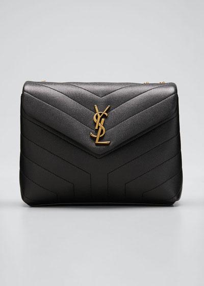 Loulou Monogram YSL Small V-Flap Grain de Poudre Shoulder Bag